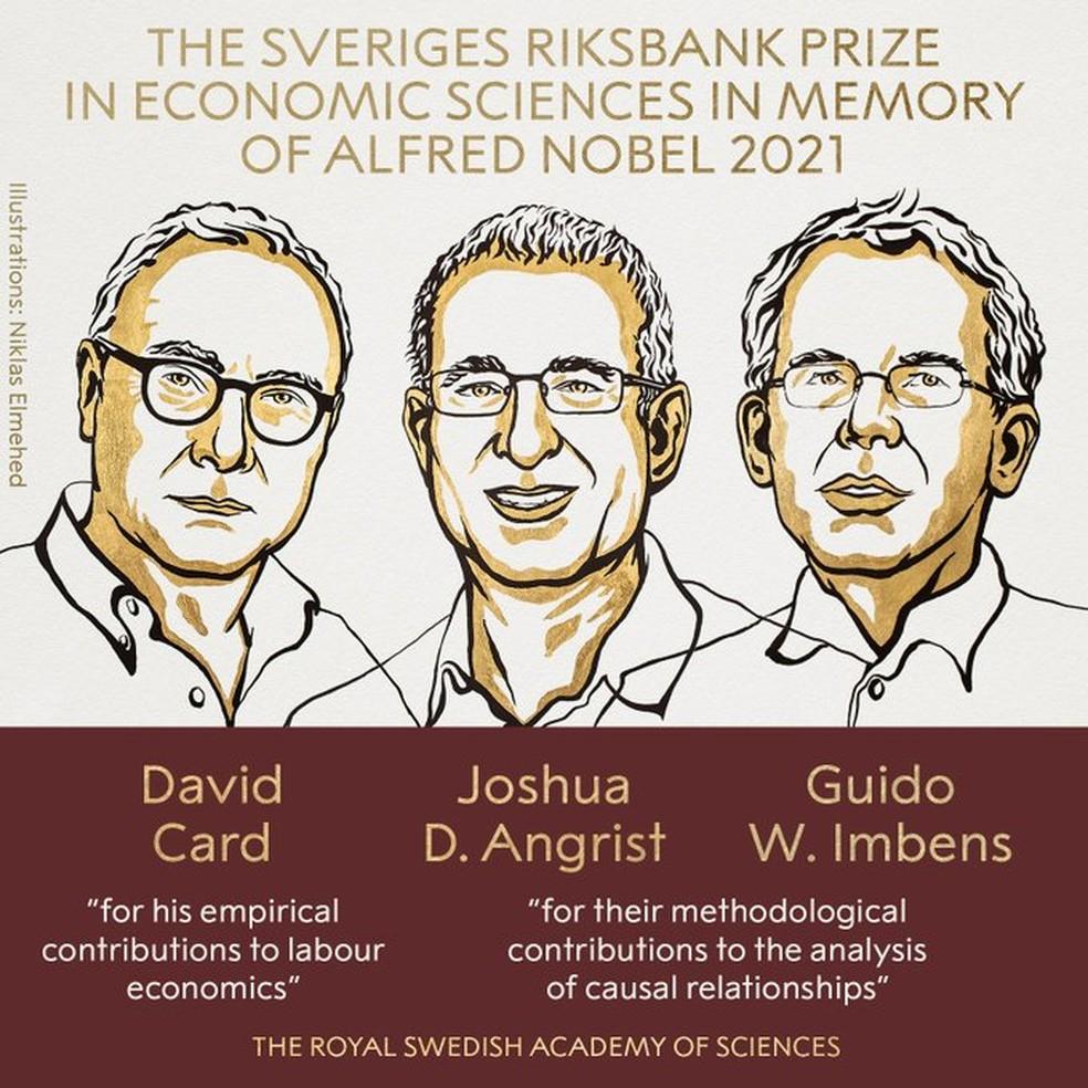 Ilustração mostra os vencedores do Prêmio Nobel de Economia de 2021: David Card, Joshua D. Angrist e Guido W. Ibens — Foto: Divuglação/Real Academia Sueca