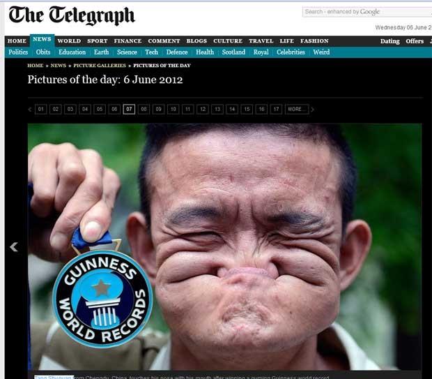 Tang Shuquan entrou para o Guinness após vencer concurso de caretas. (Foto: Reprodução/Daily Telegraph)