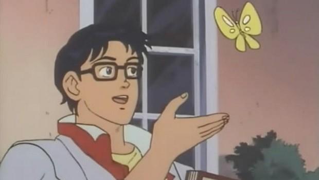 """Reprodução do meme """"Is this a pigeon?"""", que voltou a viralizar nas redes sociais este ano (Foto: Reprodução/Twitter)"""
