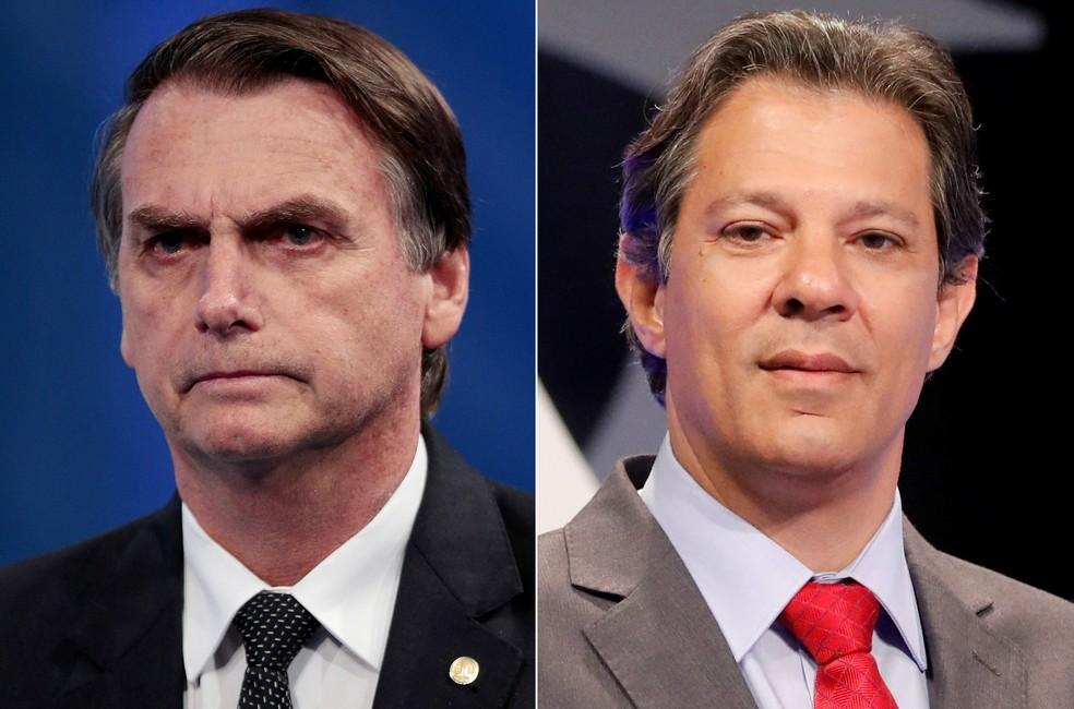 Os candidatos Jair Bolsonaro (PSL) e Fernando Haddad (PT) disputam o 2º turno presidencial — Foto: Paulo Whitaker e Nacho Doce / Reuters