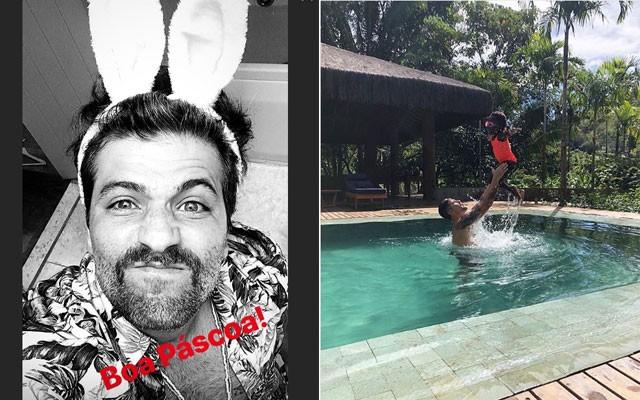 Titi Gagliasso com o pai, Bruno, na piscina  (Foto: Reprodução / Instagram)