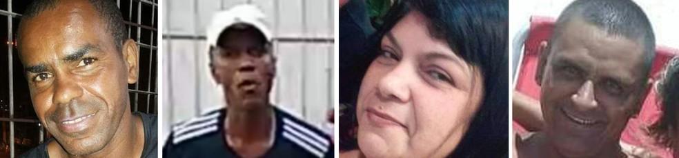 Fábio Rosa, Waldir, Janete e Pepe, mortos na chacina de São Gonçalo — Foto: Reprodução/TV Globo