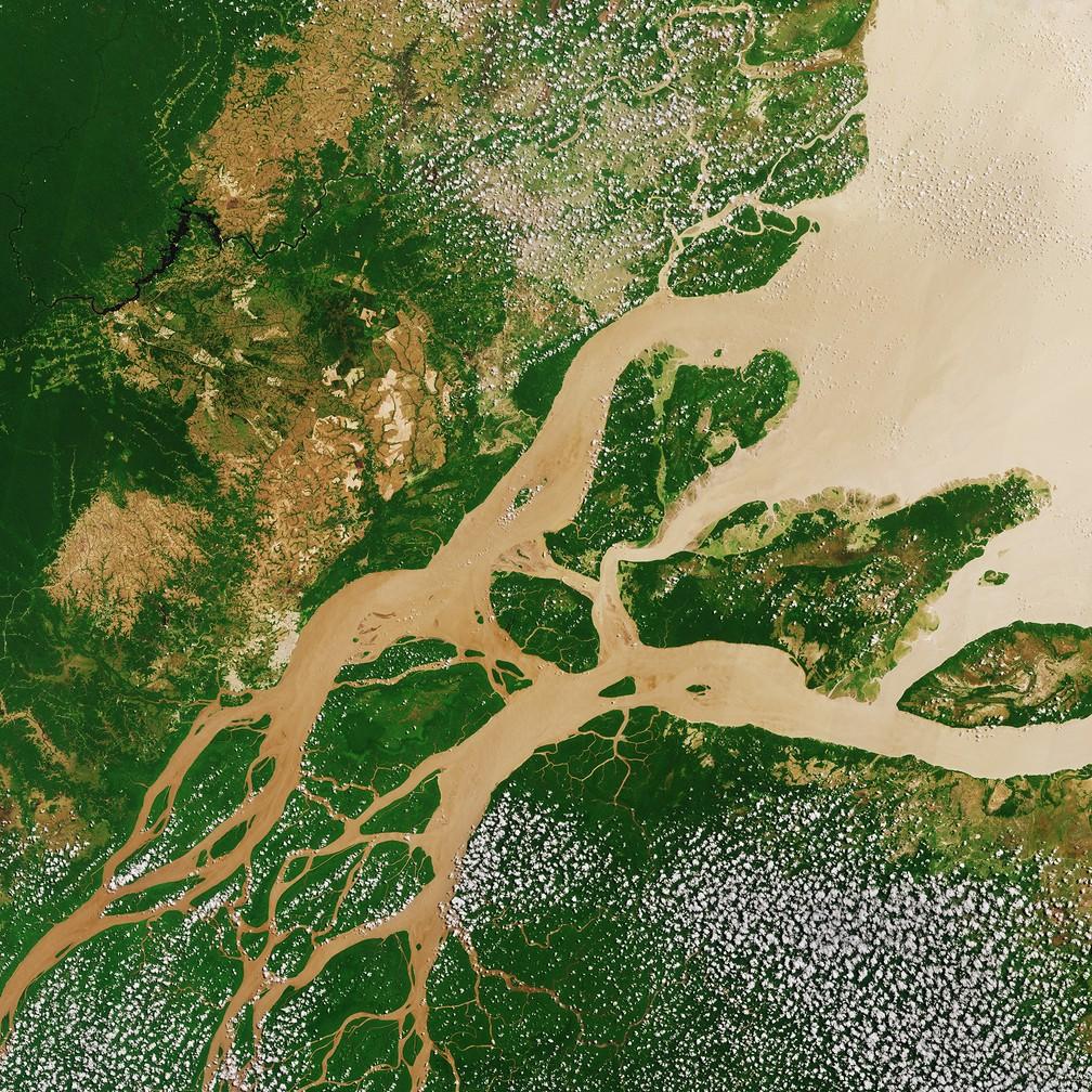 Imagem do Satélite Copernicus Sentinel-2A mostra região onde Rio Amazonas encontra o Oceano Atlântico — Foto: Agência Espacial Europeia/Divulgação