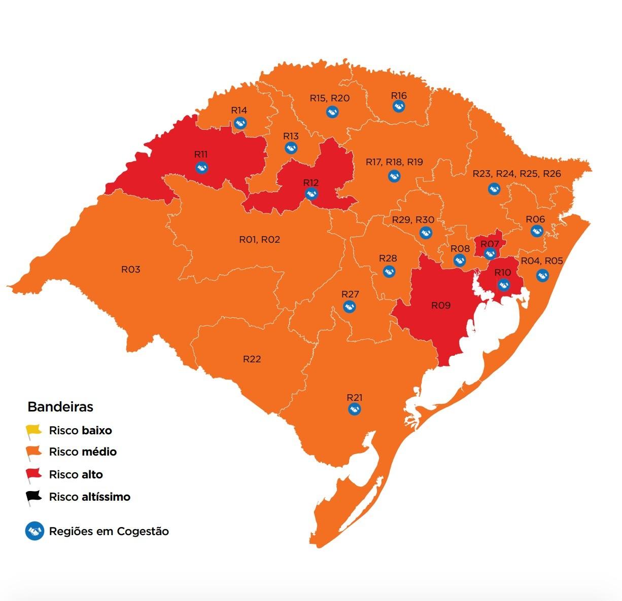 Com 5 regiões do RS em vermelho, mapa preliminar da Covid-19 tem menor classificação de alto risco