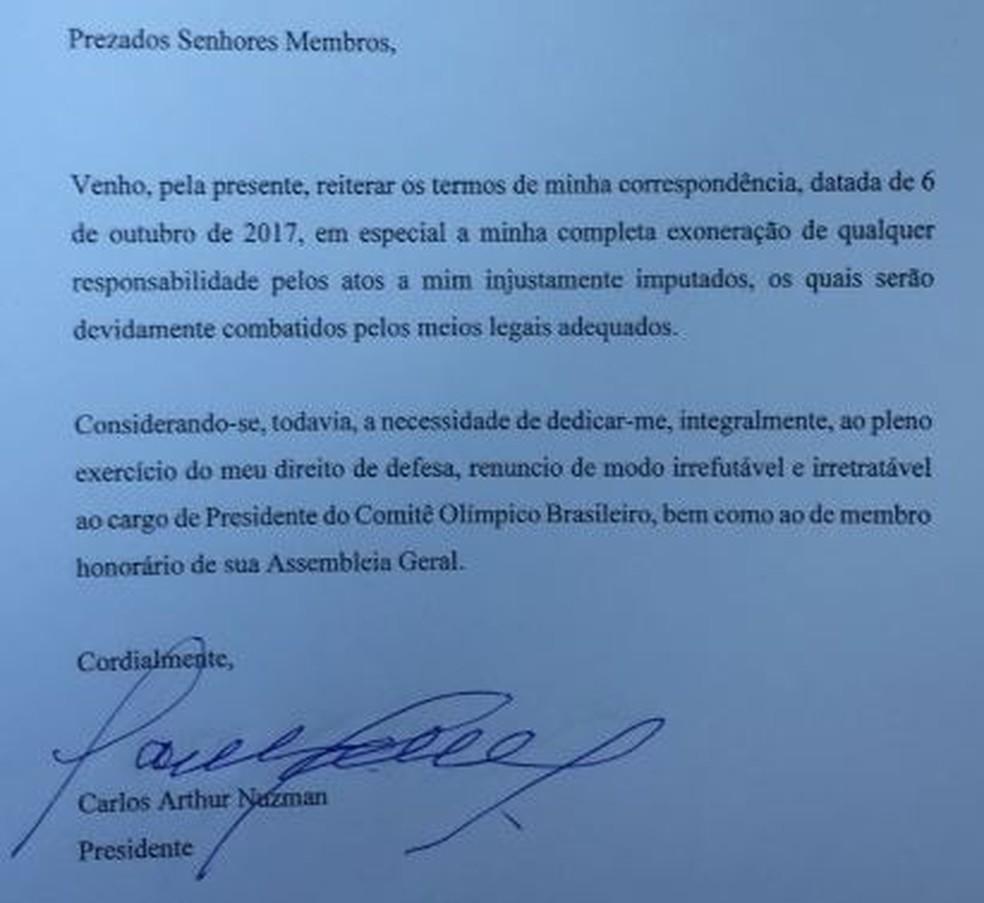 Carta de renúncia do Nuzman (Foto: G1 Rio)