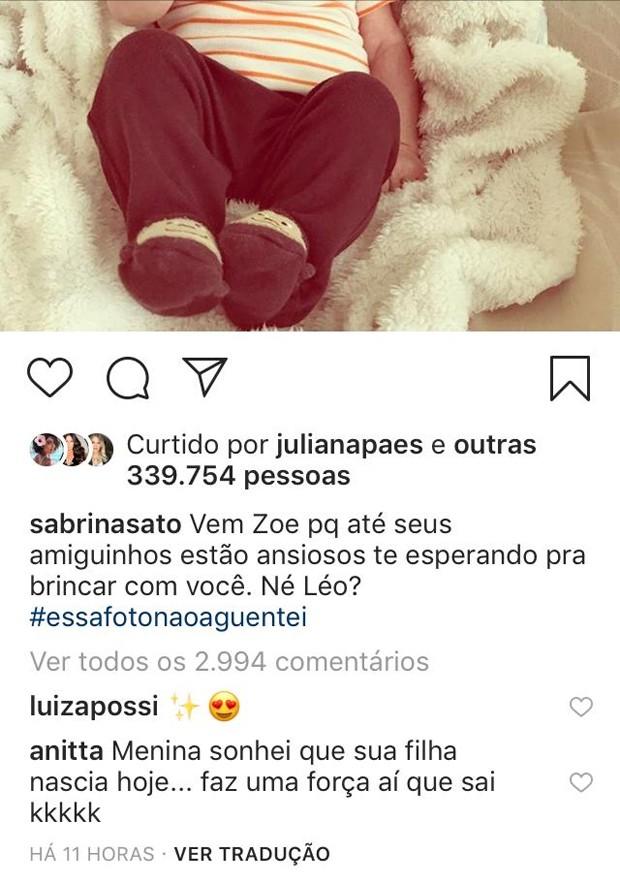 Comentário de Anitta em foto de Sabrina Sato (Foto: Reprodução/Instagram)