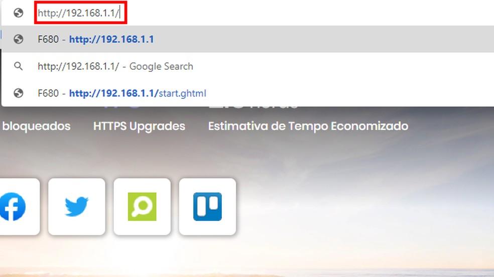 Acesse o roteador pelo endereço IP — Foto: Reprodução/Paulo Alves