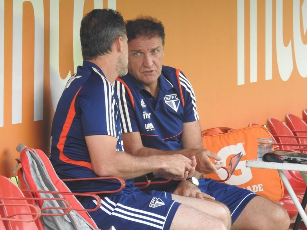 Cuca e Vagner Mancini têm a missão de recuperar o São Paulo para a sequência da temporada — Foto: Marcelo Hazan