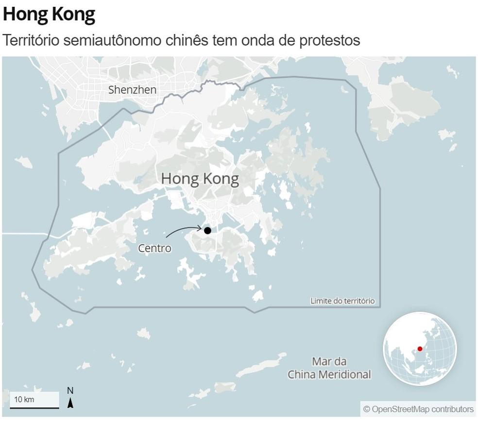 Mapa mostra localização de Hong Kong — Foto: G1
