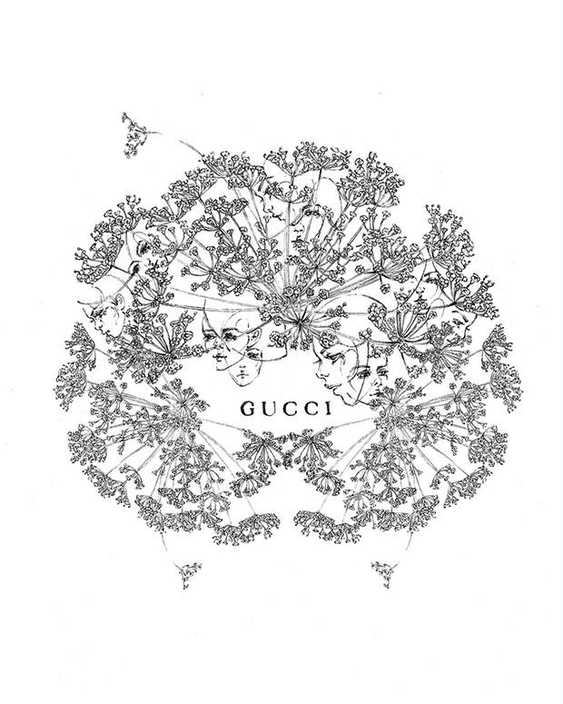 Beleza Gucci - @langleyfox também nova-iorquina, desenha plantas, animais e rostos superrealistas (Foto: Divulgalção)
