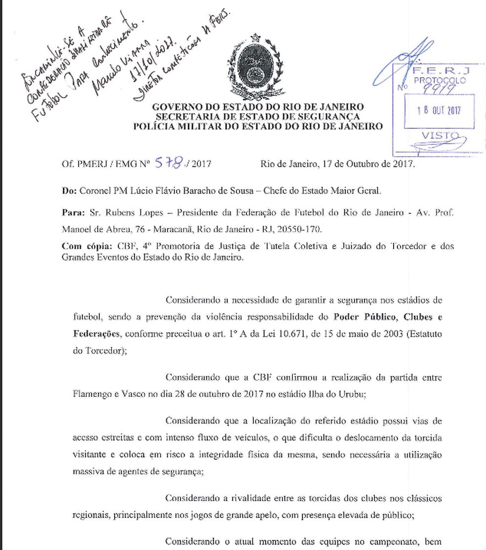 Ofício da Polícia Militar enviado à CBF recomendando a mudança do local do clássico Flamengo x Vasco (Foto: Reprodução)