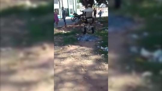 Vídeo registra troca de socos e chutes entre agente de trânsito e motorista em Marabá