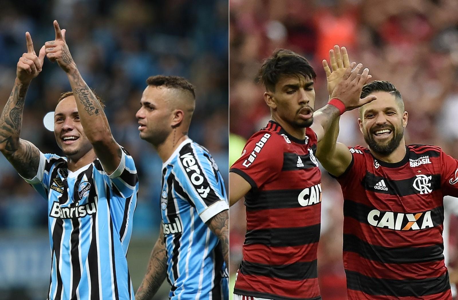 Números ofensivos de Flamengo e Grêmio na temporada
