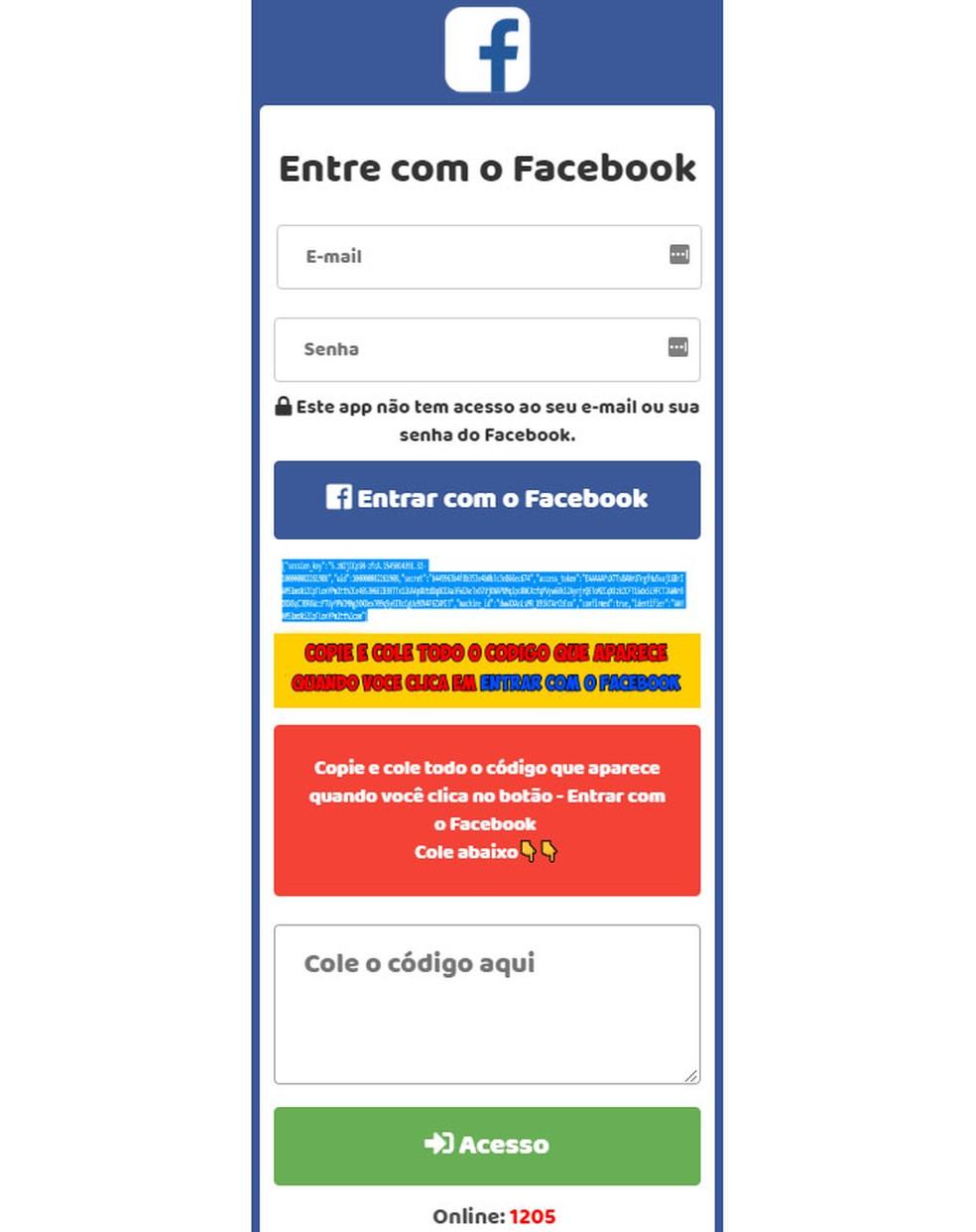 Página falsa imita botão de 'Entrar com o Facebook'.  — Foto: Reprodução/PSafe