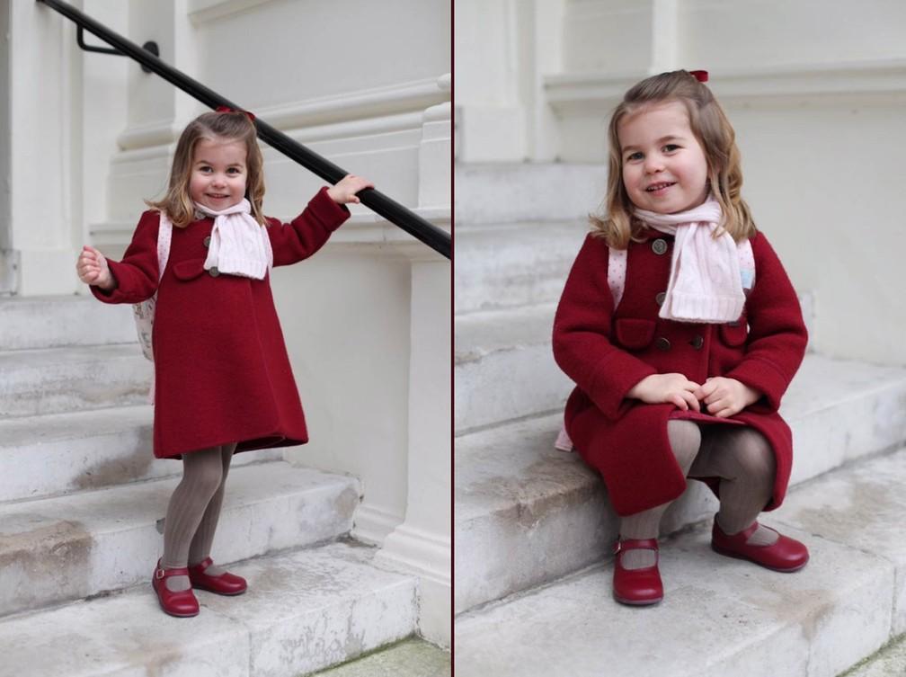 8 de janeiro - A princesa Charlotte, segunda filha do príncipe William e da duquesa de Cambridge Kate Middleton, posa para fotos tiradas por sua mãe antes do seu primeiro dia de aula nesta segunda-feira (8). Aos 2 anos, ela frequentará o berçário Willcocks Nursery School, em Londres (Foto: Kate Middleton/Palácio de Kensington/Divulgação)