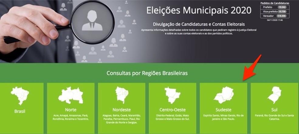 Ação para visualizar dados da eleições de um estado específico — Foto: Reprodução/Marvin Costa
