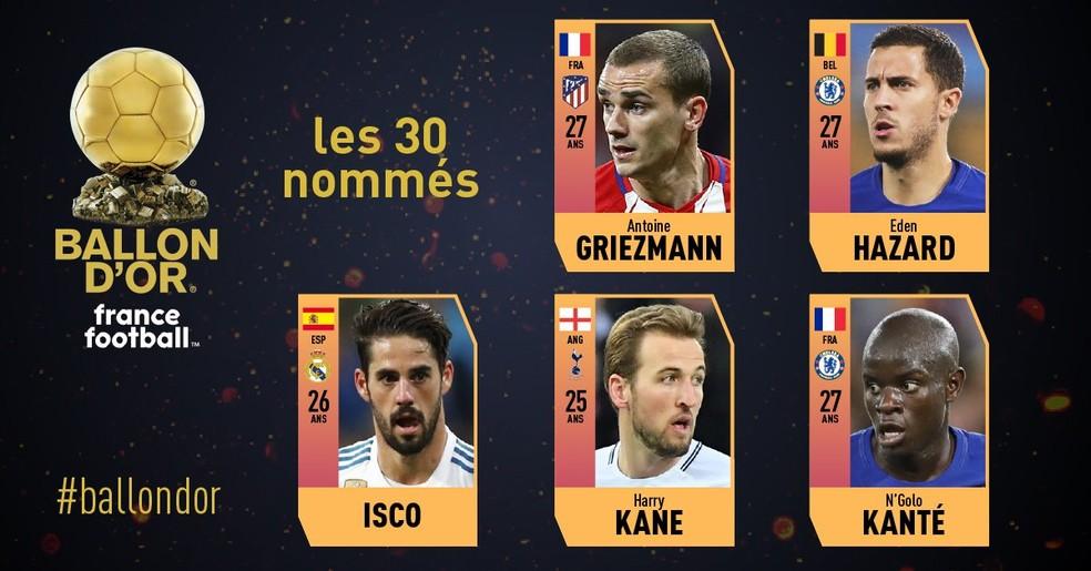 Isco, Griezmann, Hazard, Kane e Kanté em um dos grupos de cinco indicados à Bola de Ouro 2018 da France Football — Foto: Reprodução