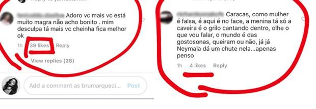 Comentários de internautas no perfil de Bruna Marquezine (Foto: Reprodução/Instagram)