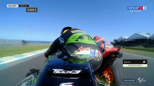 Márquez abandona GP da Austrália de MotoGP após acidente com Zarco