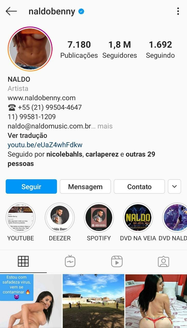 Perfil do Instagram de Naldo é hackeado (Foto: Reprodução/Instagram)