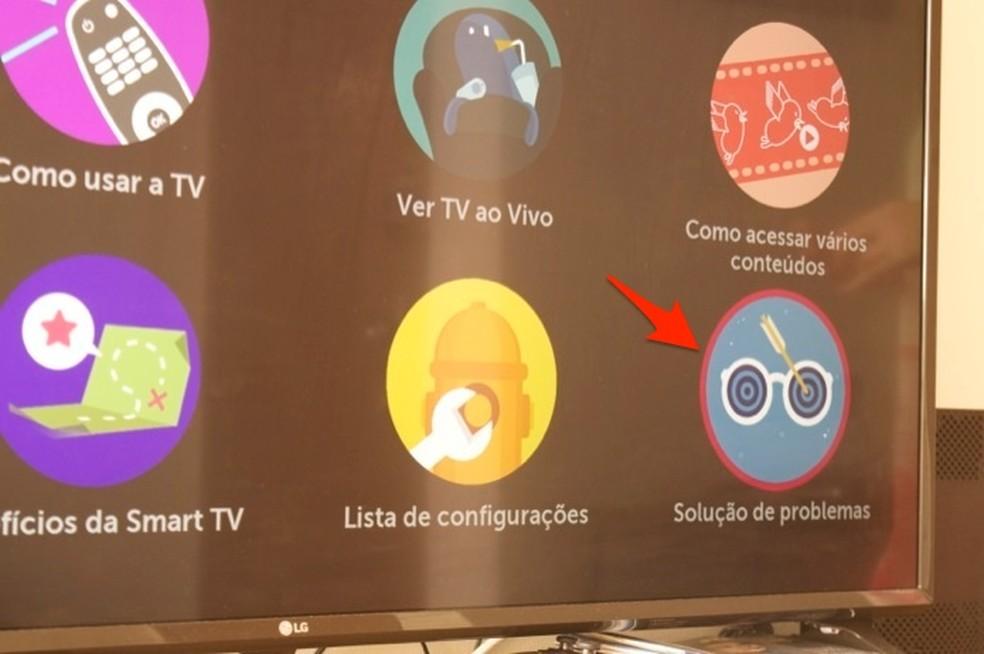 Ação para visualizar dicas para soluções de problemas em uma smart TV da LG com WebOS — Foto: Reprodução/Marvin Costa