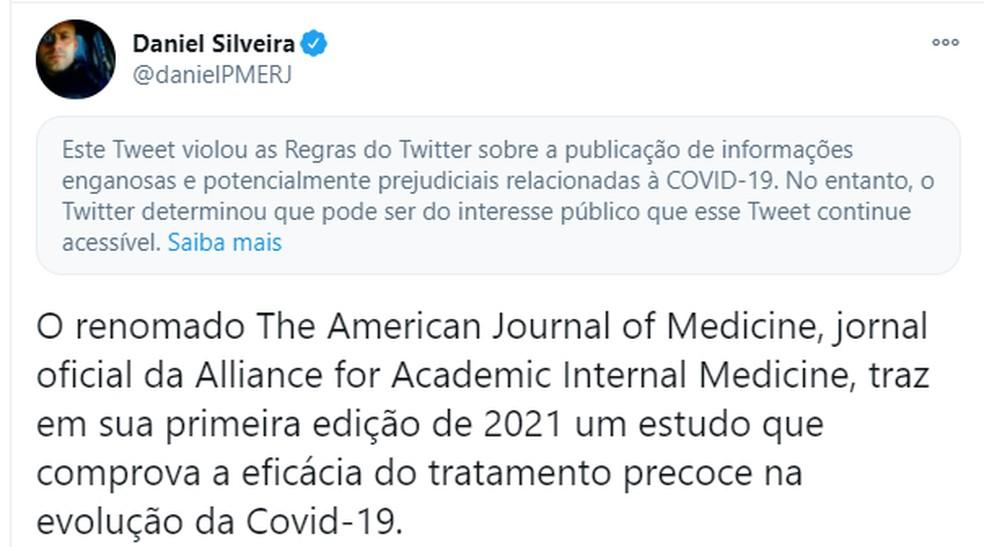 Post de Daniel Silveira com alerta do Twitter — Foto: Reprodução/Twitter