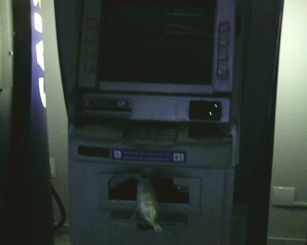 Banana de dinamite é deixada em caixa eletrônico de banco, em Natal (Foto: PM/Divulgação)