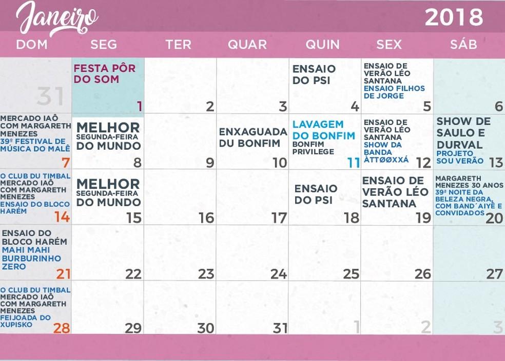 Calendário de festas do verão de Salvador em Janeiro de 2018 (Foto: Divulgação/Prefeitura)