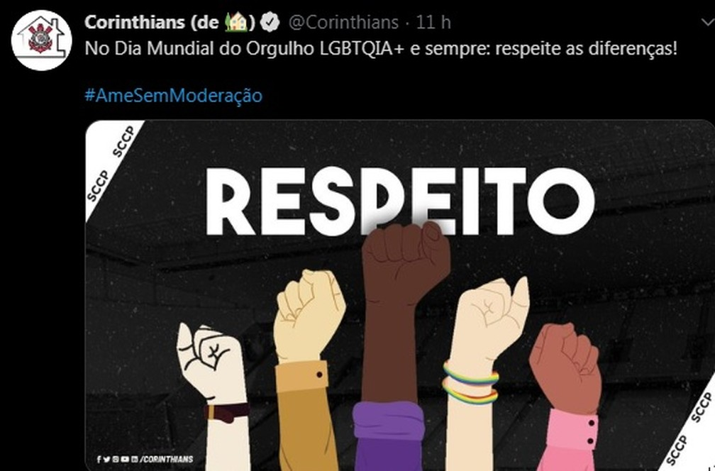 Corinthians se posiciona no Dia Internacional do Orgulho LGBTQIA+ — Foto: Reprodução