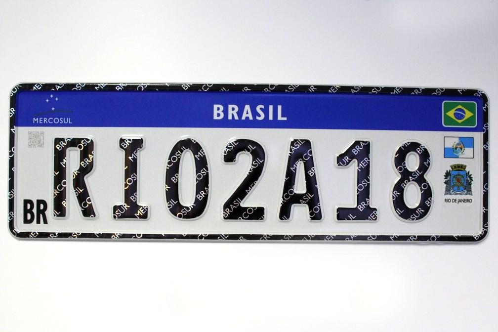 Modelo de placa de veículos do Mercosul (Foto: Reprodução)