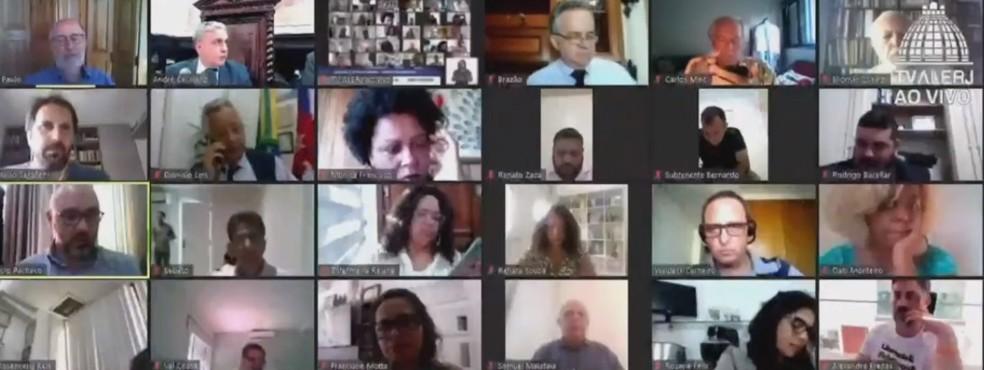 Sessão da Comissão Especial da Alerj nesta quarta-feira (24)  — Foto: Reprodução/ TV Alerj