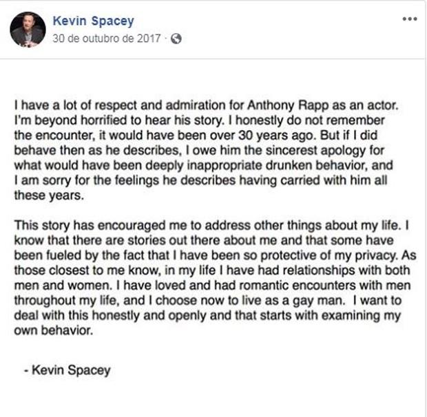 Kevin Spacey pede desculpas à Anthony Rapp (Foto: Reprodução / Facebook)