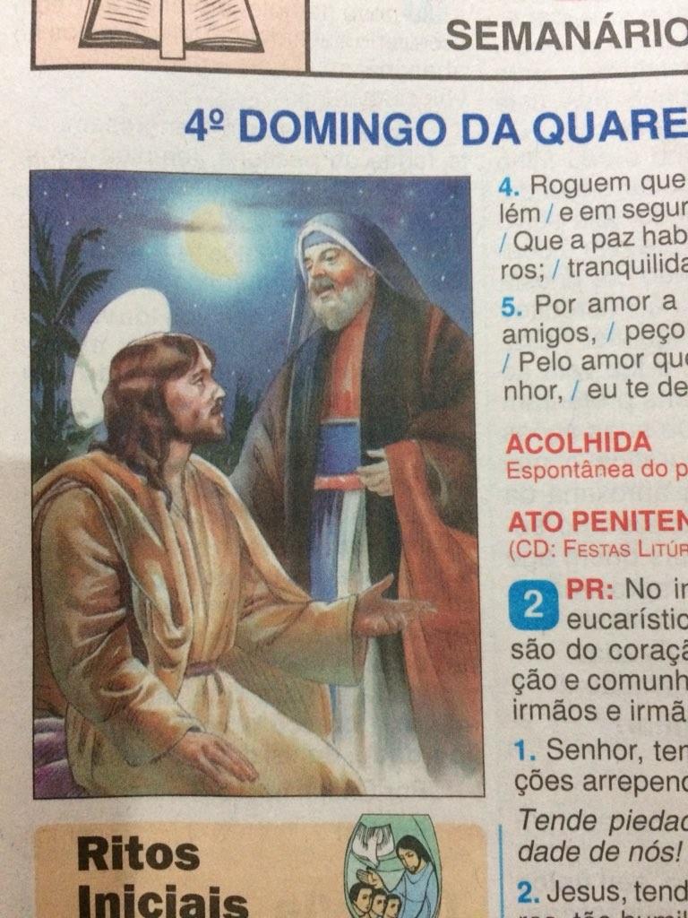Folheto da missa da Igreja Católica mostra imagem de Jesus conversando com Nicodemos
