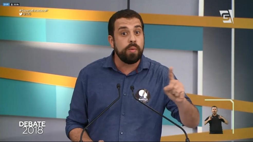 Guilherme Boulos (PSOL) no debate da TV Gazeta (Foto: Reprodução/TV Gazeta)