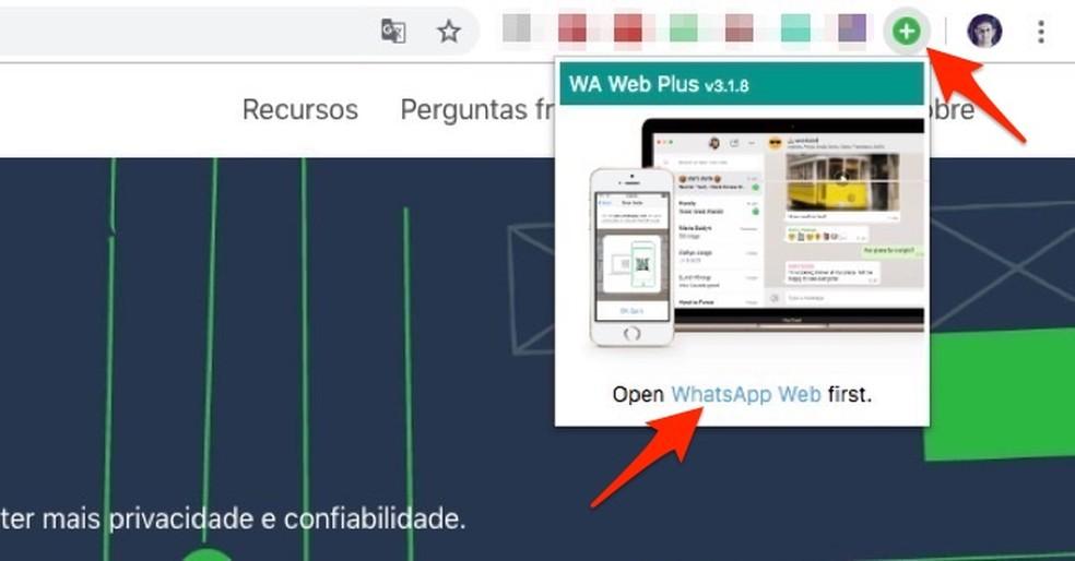 Ação para iniciar o WhatsApp através da extensão WA Web Plus no Chrome — Foto: Reprodução/Marvin Costa
