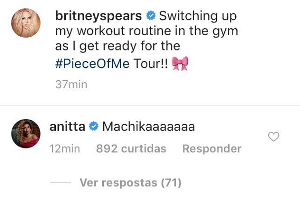 Anitta comenta publicação de Britney Spears (Foto: Instagram/Reprodução)