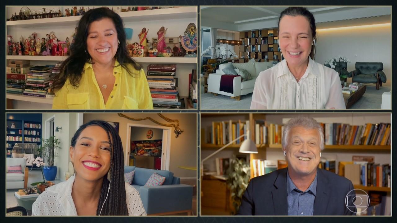 Regina Casé, Adriana Esteves e Taís Araújo comemoram retorno de 'Amor de Mãe'