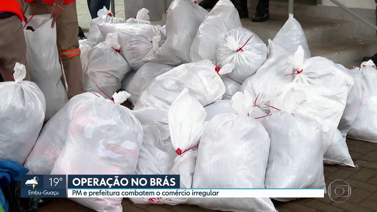PM e prefeitura da capital paulista combatem comércio irregular na região do Brás
