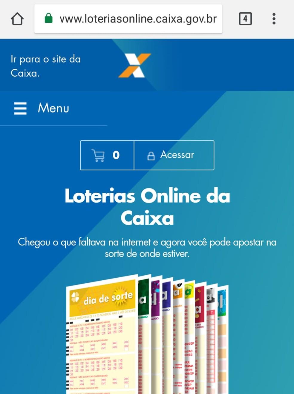 Site de loterias da Caixa (Foto: Reprodução)