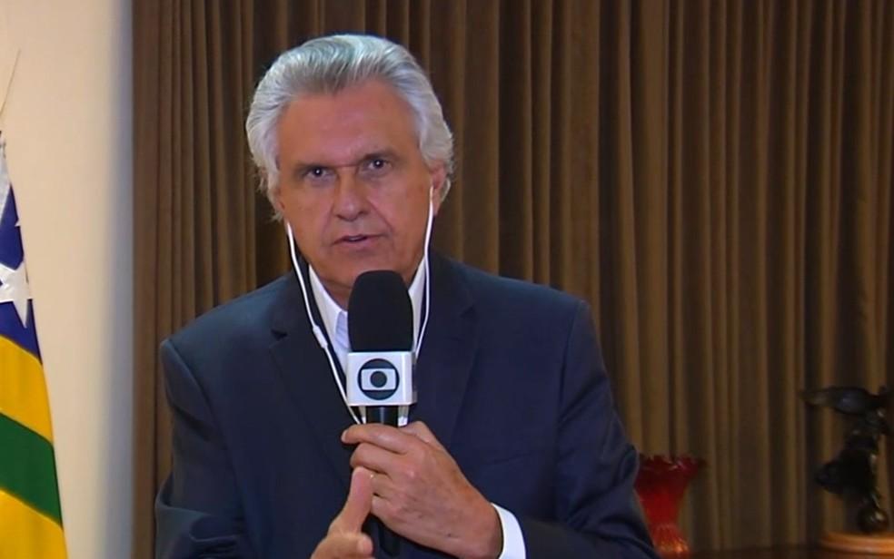 Ronaldo Caiado, governador de Goiás — Foto: Reprodução/TV Anhanguera