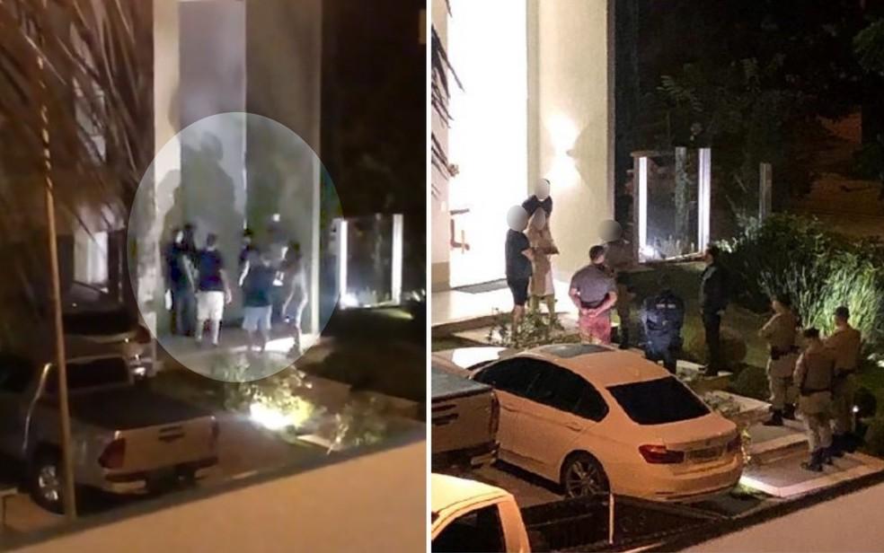Na primeira foto, cantor e amigos na porta da família; na outra, PM no local conversando com os moradores — Foto: Reprodução