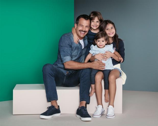 Malvino Salvador com as filhas, Ayra, Kyara e Sofia (Foto: Rodrigo Zorzi/Divulgação)