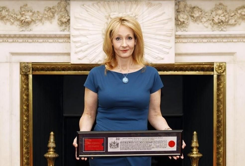 -  Escritora britânica J.K. Rowling, durante evento em Londres no dia 8 de maio  Foto: REUTERS/Andrew Winning