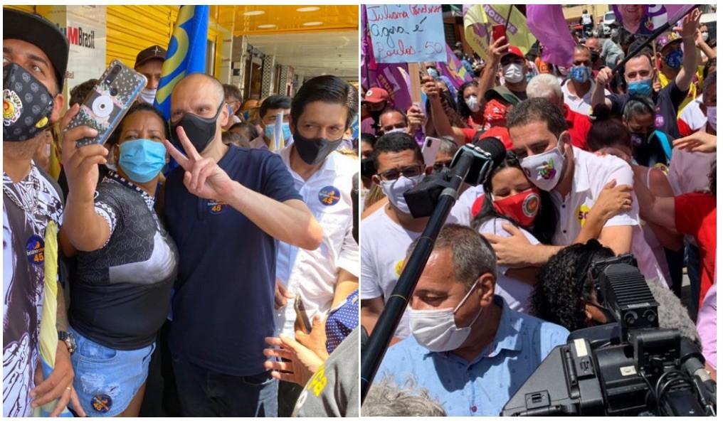 Boulos e Covas pregam prevenção à Covid-19 em SP, mas provocam aglomerações no 2º turno da campanha eleitoral