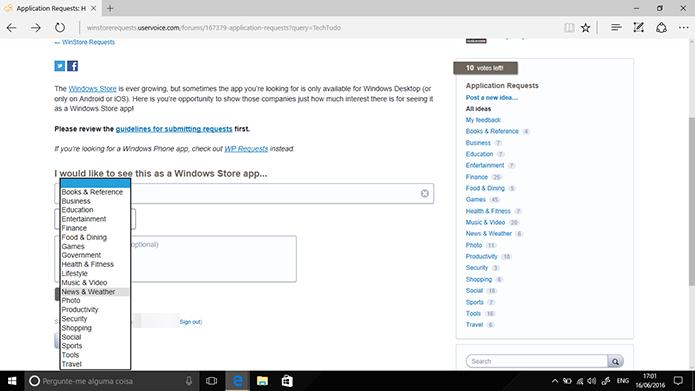 Usuário deve informar a categoria do app que está solicitando para Windows 10 (Foto: Reprodução/Elson de Souza)