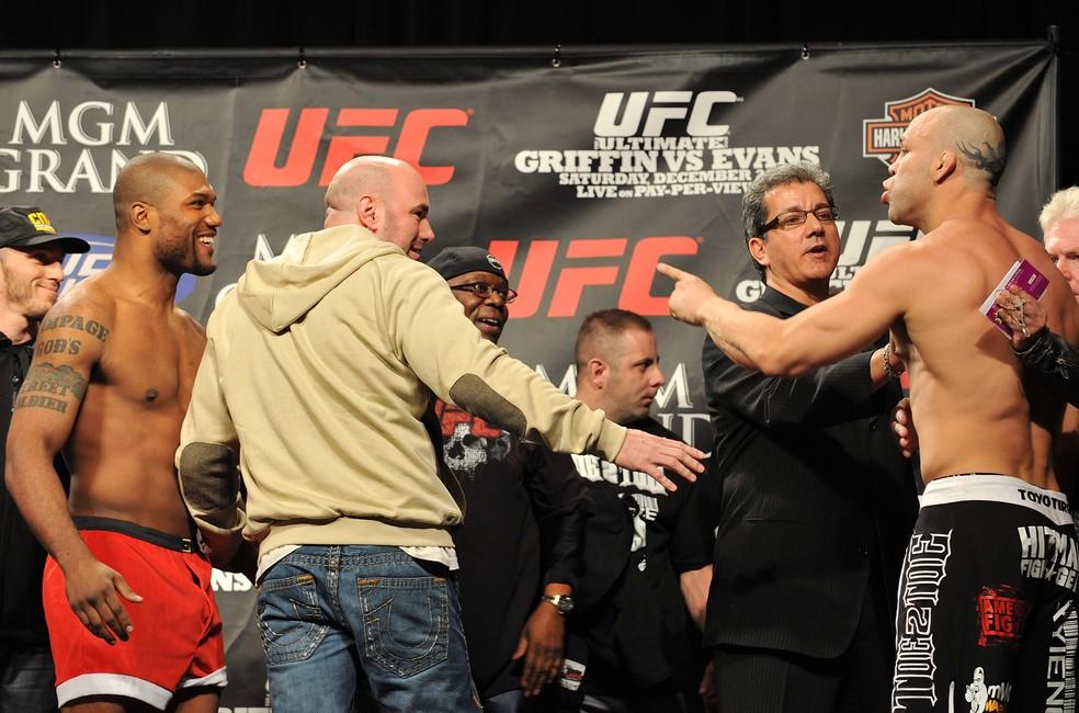 Rivalidade entre Wanderlei e Rampage começou no Pride, mas se estendeu por UFC e Bellator — Foto: Getty Images
