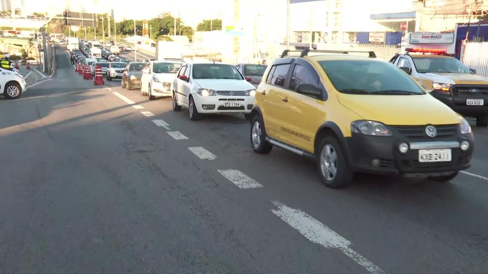 Congestionamento na Zona Leste de SP nesta segunda  — Foto: Reprodução/TV Globo