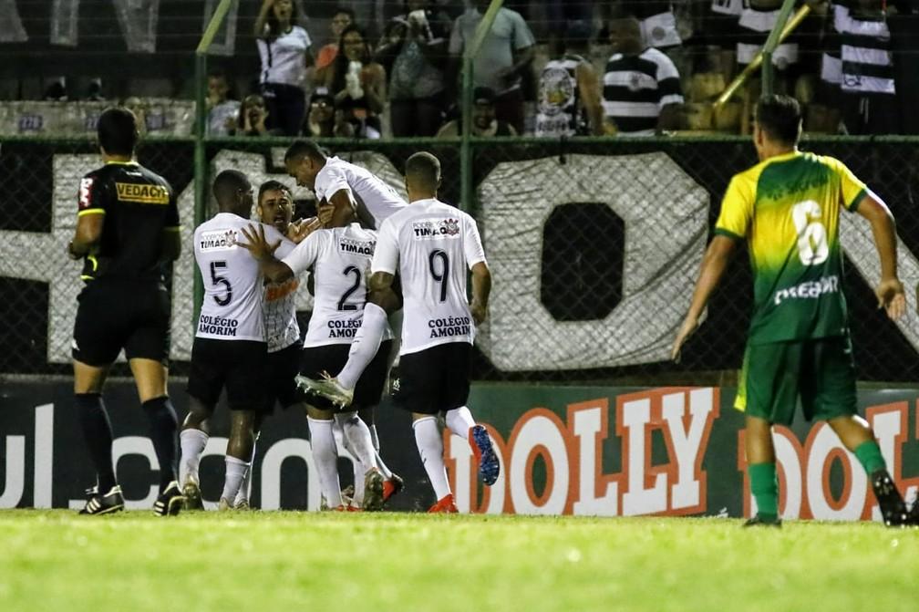 Corinthians comemora gol contra o Cuibá na Copinha; Timão venceu por 3 a 1 — Foto: Rodrigo Gazzanel/Ag.Corinthians