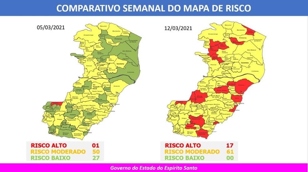 Mapa de Risco Covid-19 no ES — Foto: Divulgação/Governo ES