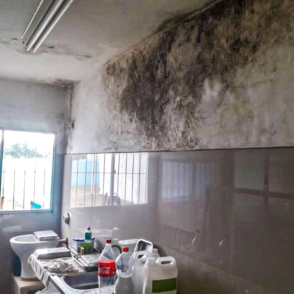 Paredes de consultório odontológico estão com mofo, em Paulista, no Grande Recife — Foto: CRO-PE/Divulgação